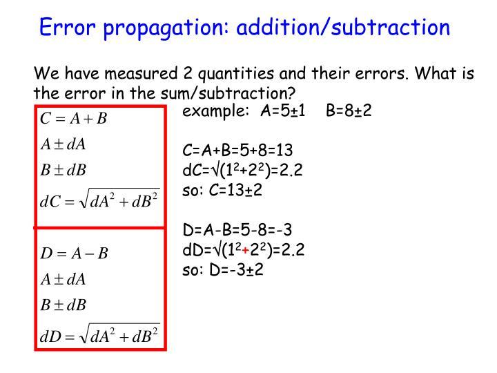 Error propagation: addition/subtraction