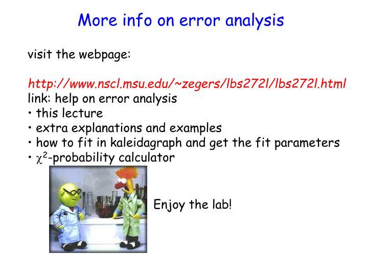 More info on error analysis