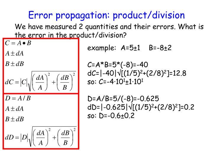 Error propagation: product/division