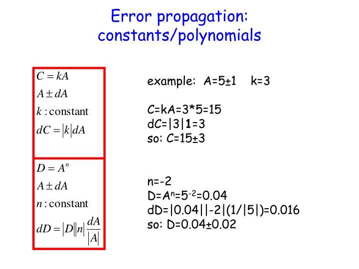 Error propagation: constants/polynomials