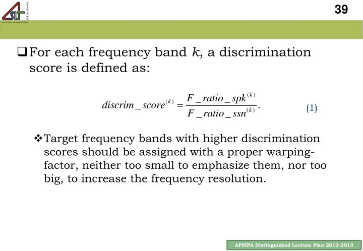 For each frequency band