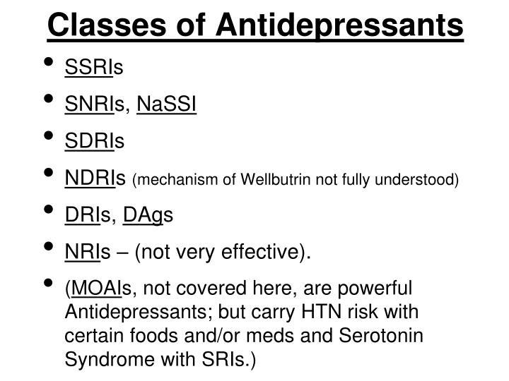 Classes of Antidepressants