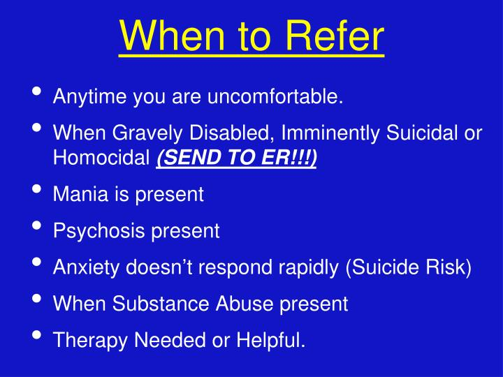When to Refer