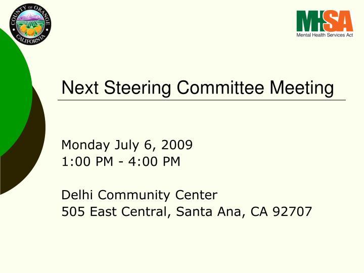 Next Steering Committee Meeting