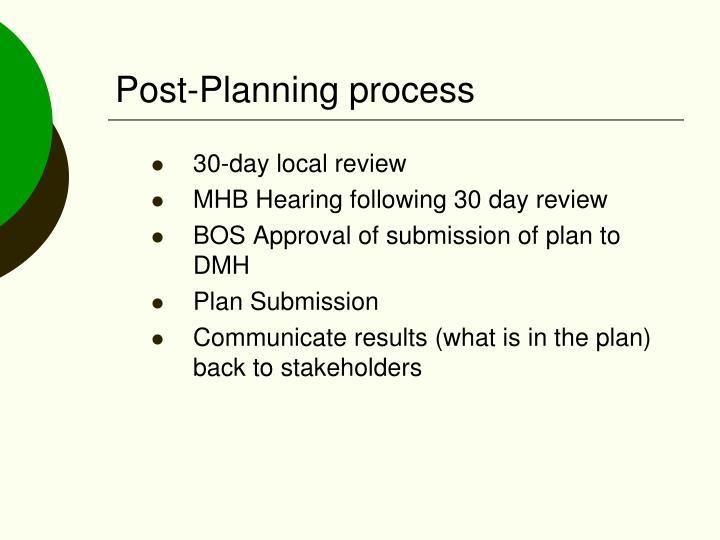 Post-Planning process