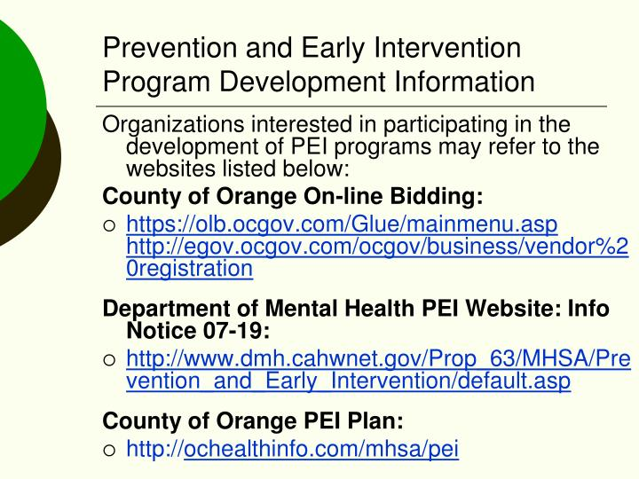 Prevention and Early Intervention Program Development Information