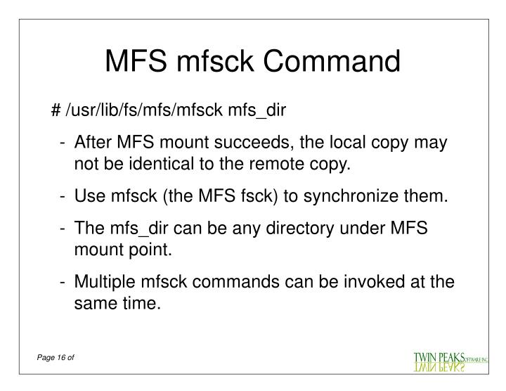 MFS mfsck Command