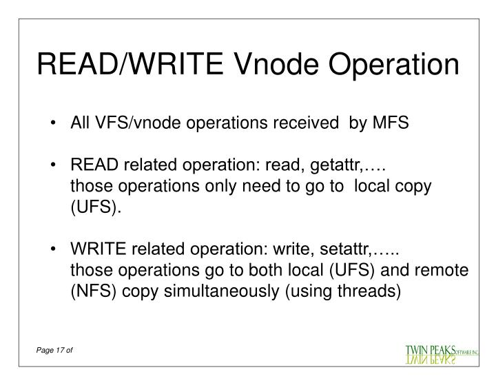 READ/WRITE Vnode Operation