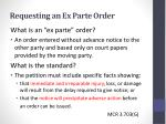 requesting an ex parte order