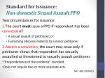 standard for issuance non domestic sexual assault ppo