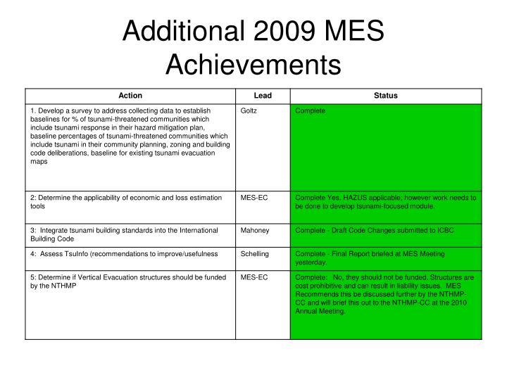 Additional 2009 MES Achievements