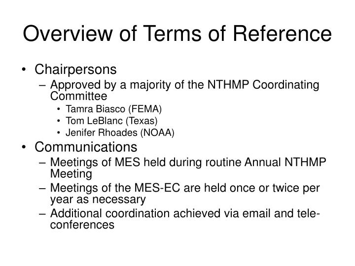 Overview of terms of reference1
