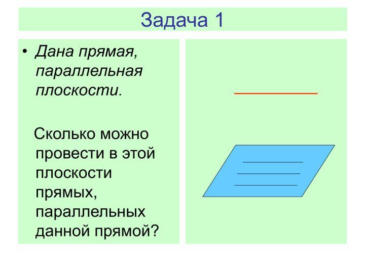 Дана прямая, параллельная  плоскости