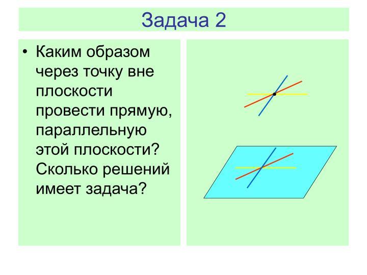 Каким образом через точку вне плоскости провести прямую, параллельную этой плоскости? Сколько решений имеет задача?