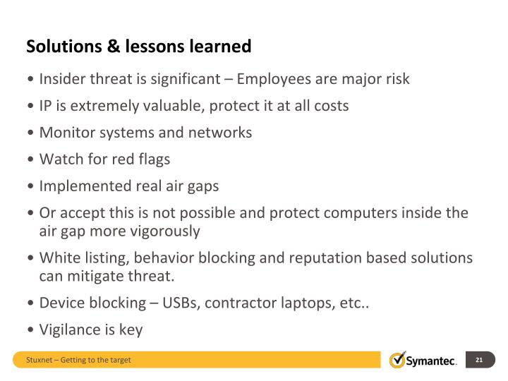 Solutions & lessons learned