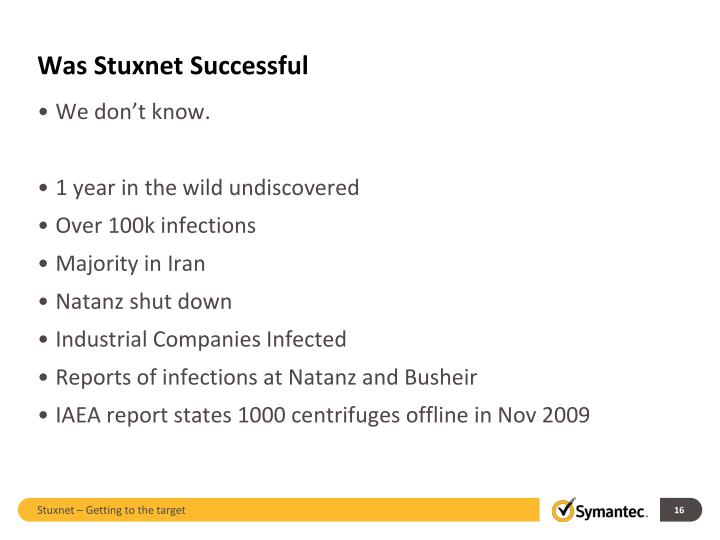 Was Stuxnet Successful