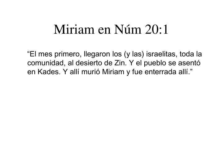 Miriam en Núm 20:1