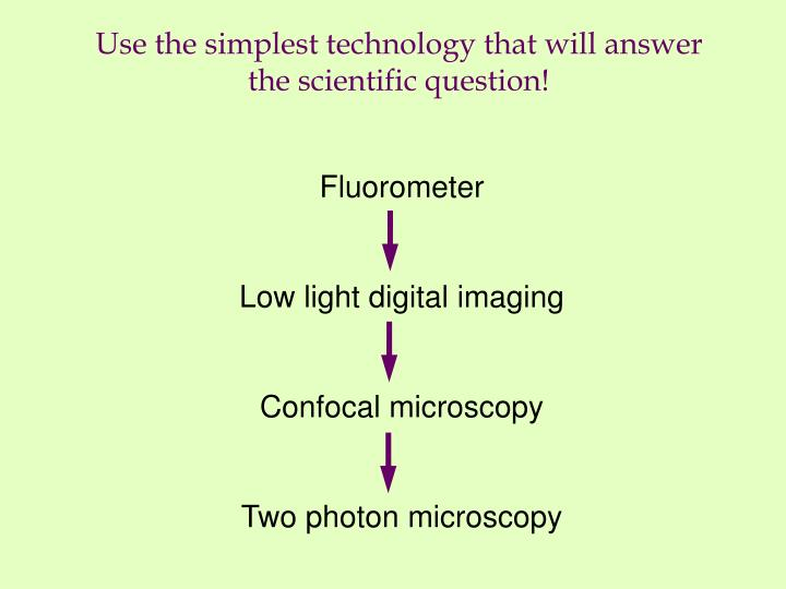 use the simplest technology that will answer the scientific question