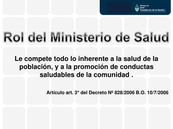 Rol del Ministerio de Salud