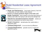 model residential lease agreement cont