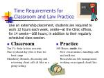time requirements for classroom and law practice