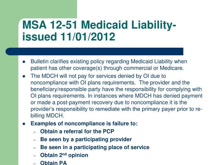 MSA 12-51 Medicaid Liability-issued 11/01/2012