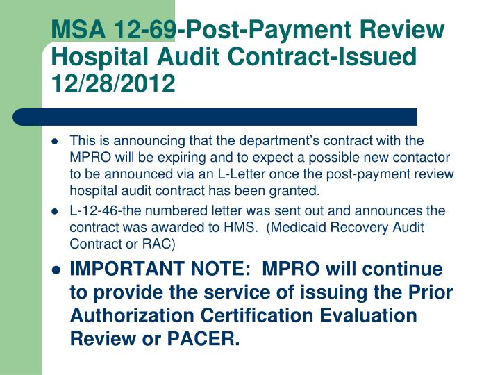 MSA 12-69-Post-Payment Review Hospital Audit Contract-Issued 12/28/2012