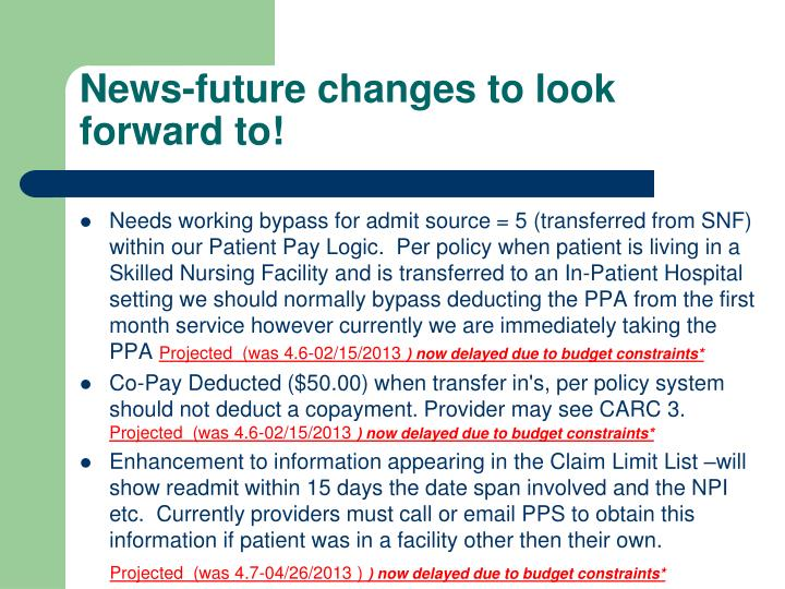 News-future changes to look forward to!
