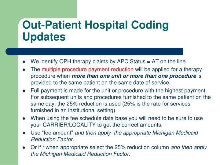 Out-Patient Hospital Coding Updates