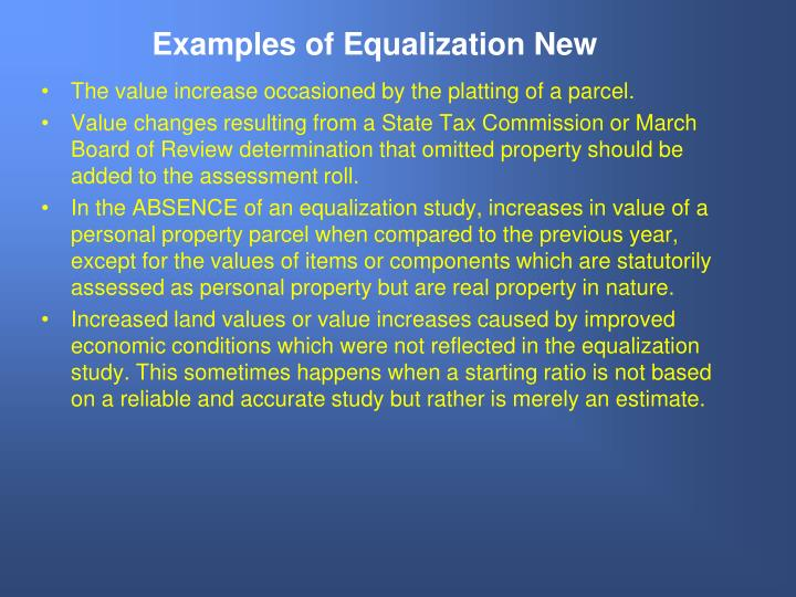 Examples of Equalization New