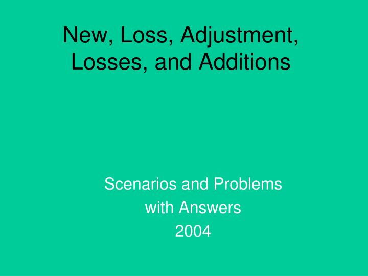 New, Loss, Adjustment, Losses, and Additions