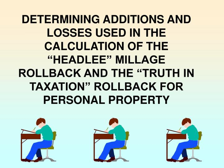 """DETERMINING ADDITIONS AND LOSSES USED IN THE CALCULATION OF THE """"HEADLEE"""" MILLAGE ROLLBACK AND THE """"TRUTH IN TAXATION"""" ROLLBACK FOR PERSONAL PROPERTY"""