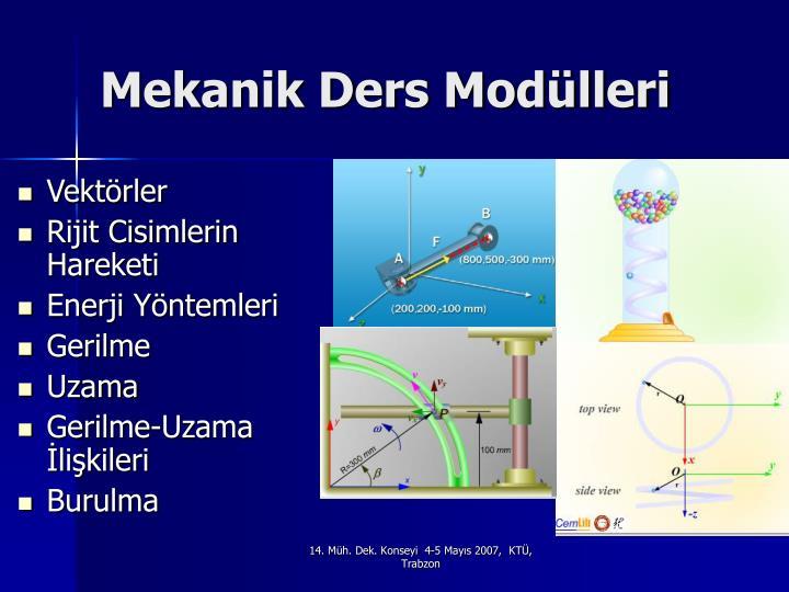 Mekanik Ders Modülleri