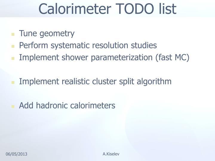 Calorimeter TODO list