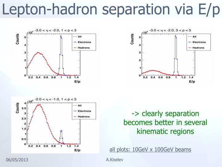 Lepton-hadron separation via E/p