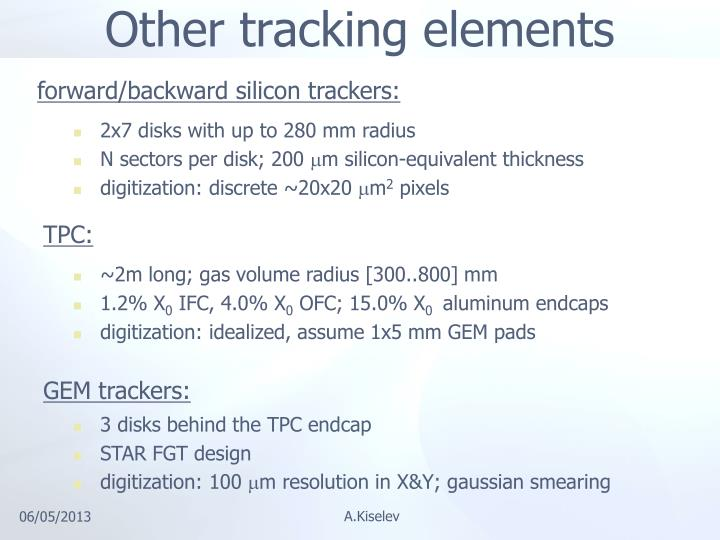 Other tracking elements