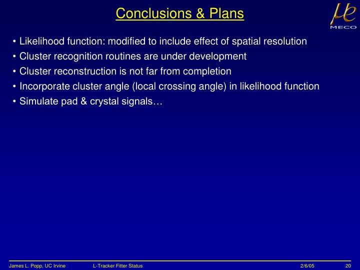 Conclusions & Plans