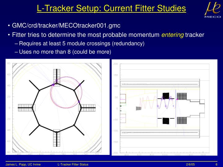 L-Tracker Setup: Current Fitter Studies
