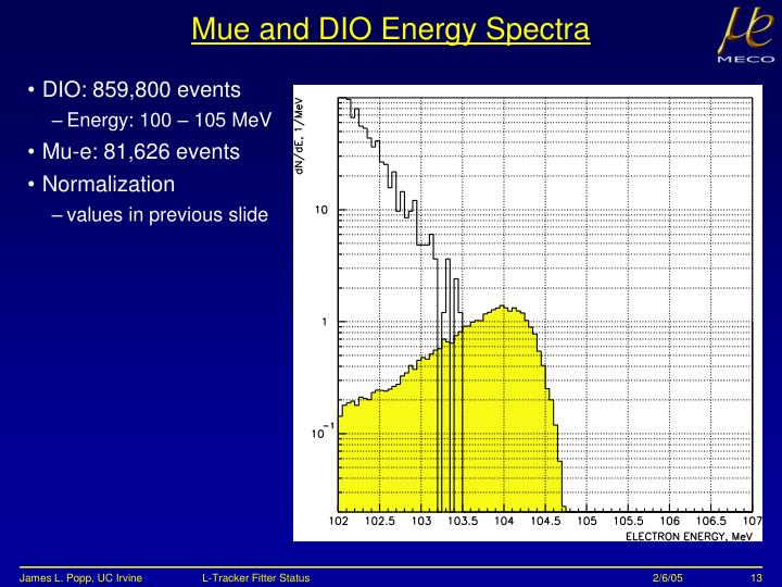 Mue and DIO Energy Spectra