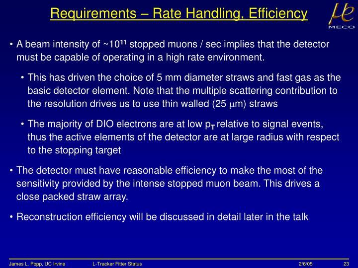 Requirements – Rate Handling, Efficiency