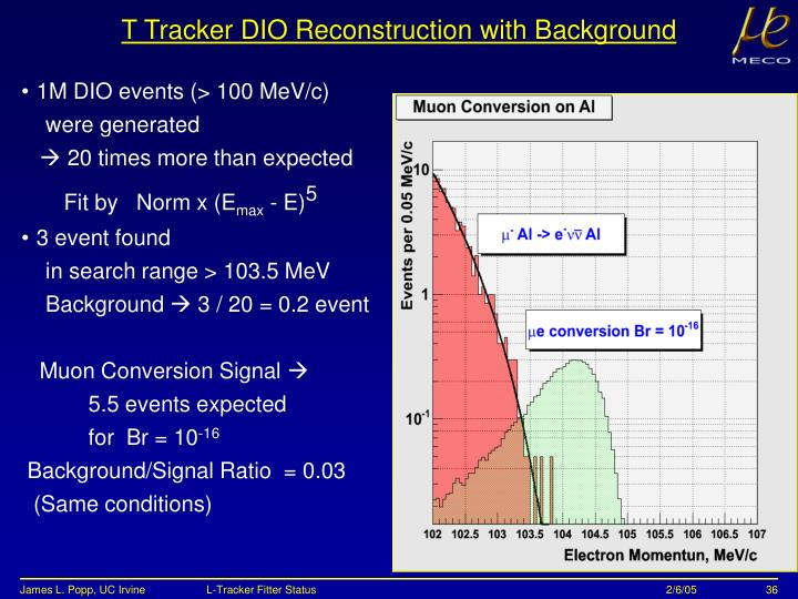 T Tracker DIO Reconstruction with Background