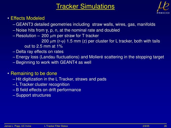 Tracker Simulations