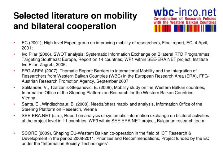 Selected literature on mobility and bilateral cooperation