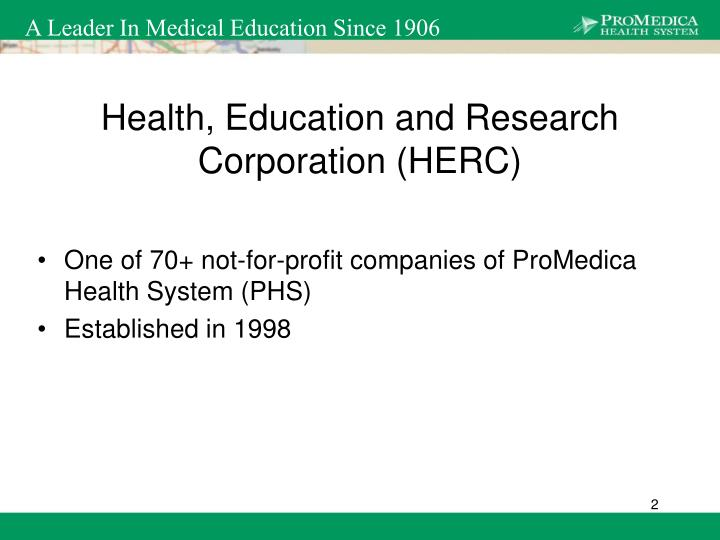 Health education and research corporation herc