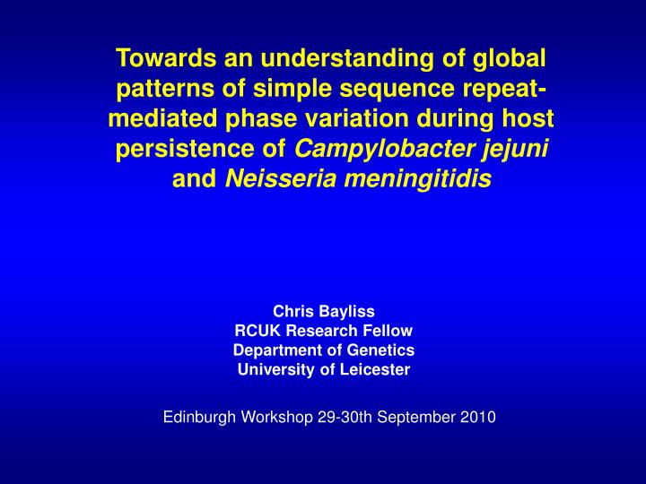 Towards an understanding of global patterns of simple sequence repeat-mediated phase variation durin...