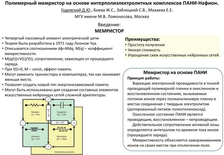 Полимерный мемристор на основе интерполиэлектролитны...
