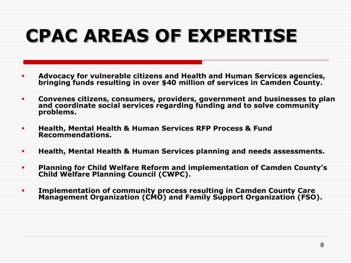 CPAC AREAS OF EXPERTISE
