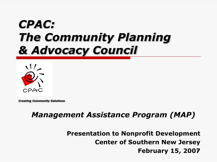 Cpac the community planning advocacy council