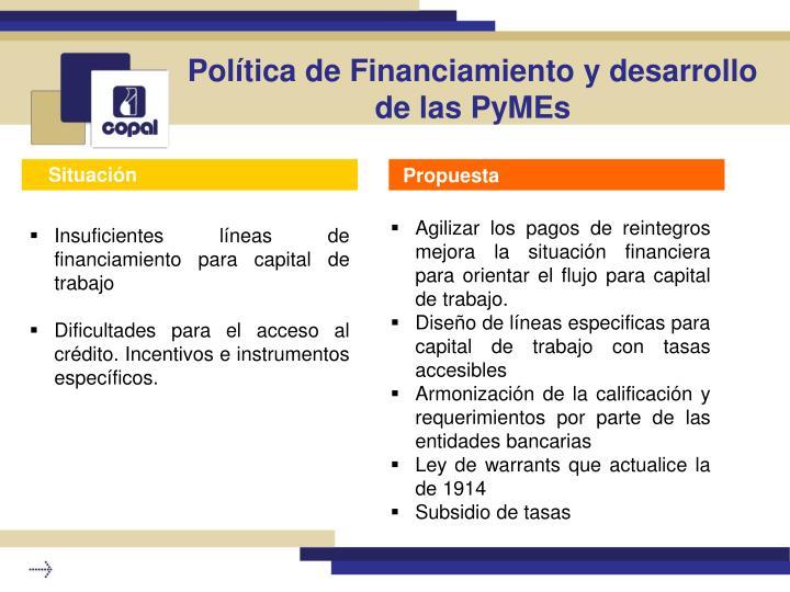 Política de Financiamiento y desarrollo de las