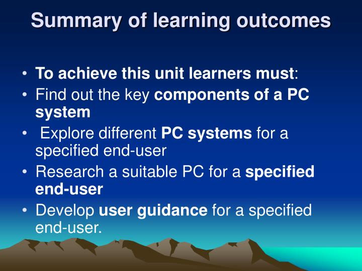 Summary of learning outcomes